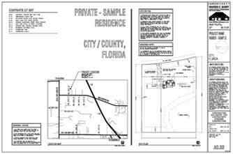 Architectural Construction Documents, custom home plans, site plan, site map, contents of set