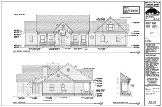 Permit Drawings, custom home plans, exterior elevations, highly detailed